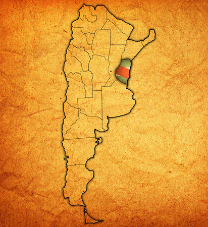 region: entre rios region with flag on map of administrative divisions of argentina