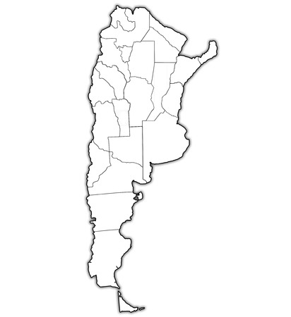 divisions: regions of argentina with borders on map of administrative divisions Stock Photo