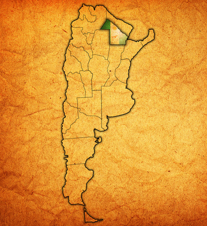divisions: chaco region with flag on map of administrative divisions of argentina