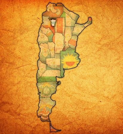 divisions: tucuman region with flag on map of administrative divisions of argentina