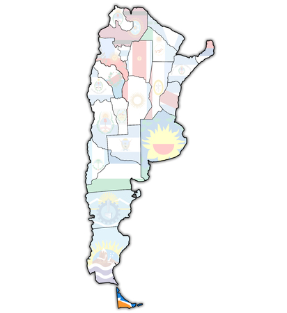 divisions: Tierra del Fuego region with flag on map of administrative divisions of argentina Stock Photo