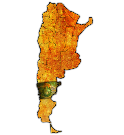 divisions: chubut region with flag on map of administrative divisions of argentina Stock Photo