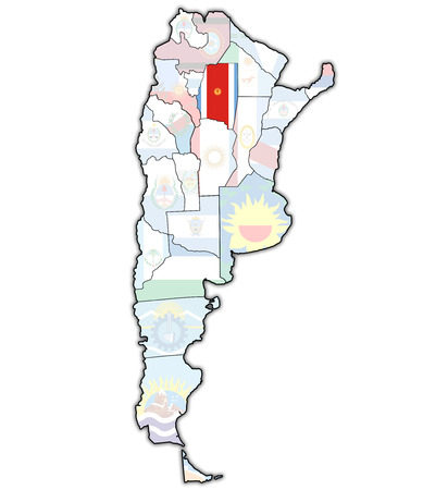 del: Santiago del Estero region with flag on map of administrative divisions of argentina