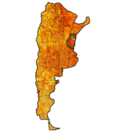 entre rios region with flag on map of administrative divisions of argentina