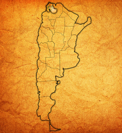 divisions: jujuy region with flag on map of administrative divisions of argentina Stock Photo