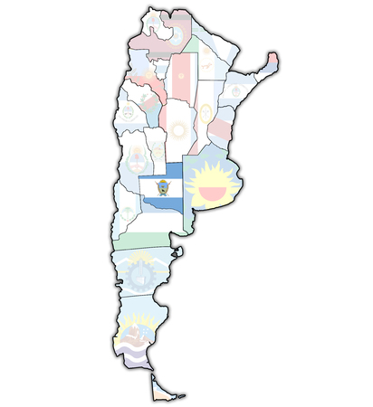 divisions: la pampa region with flag on map of administrative divisions of argentina Stock Photo