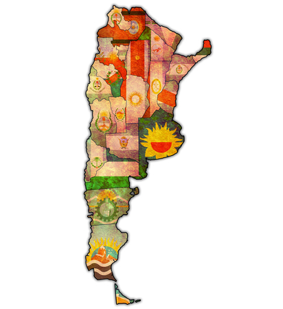 regions: regions of argentina with flags on map of administrative divisions