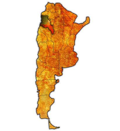region: catamarca region with flag on map of administrative divisions of argentina Stock Photo