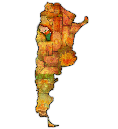region: la rioja region with flag on map of administrative divisions of argentina