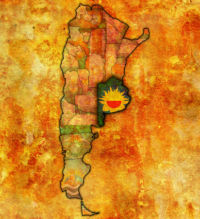 divisions: buenos aires region with flag on map of administrative divisions of argentina Stock Photo