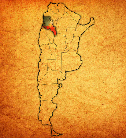 divisions: catamarca region with flag on map of administrative divisions of argentina Stock Photo
