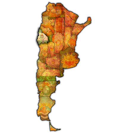 divisions: san juan region with flag on map of administrative divisions of argentina