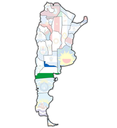 divisions: rio negro region with flag on map of administrative divisions of argentina