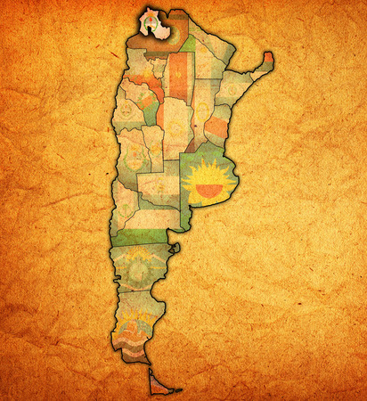 region: jujuy region with flag on map of administrative divisions of argentina Stock Photo