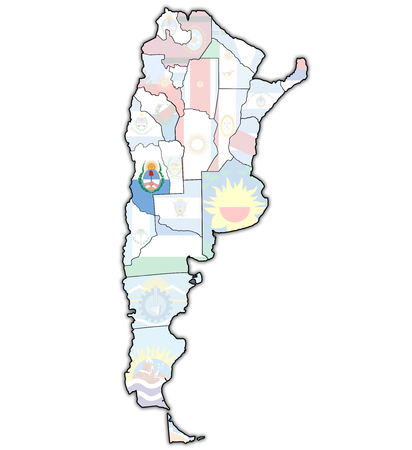 divisions: mendoza region with flag on map of administrative divisions of argentina