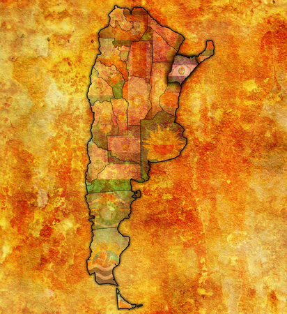 corrientes: corrientes region with flag on map of administrative divisions of argentina