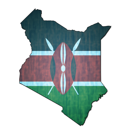 kenya: map with flag of kenya with national borders