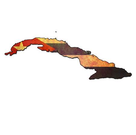 mapa con la bandera de Cuba con las fronteras nacionales