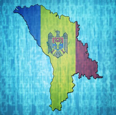 moldova: map with flag of moldova with national borders