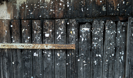 graining: abstract composition of burnt wooden wall full of staples Stock Photo