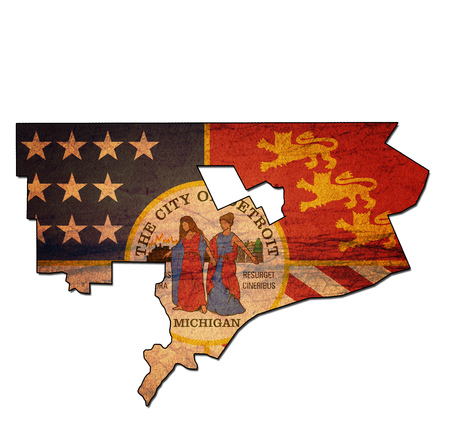 detroit: old vintage map of detroit territory with flag Stock Photo