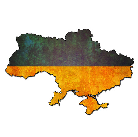 map with flag of ukraine with national borders