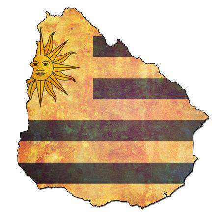 bandera de uruguay: map with flag of uruguay with national borders
