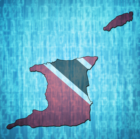 map with flag of trinidad and tobago with national borders