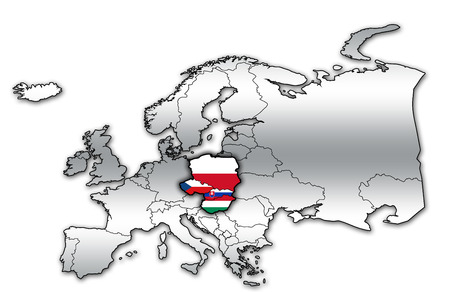 political map of europe with flags of memeber countries of visegrad group