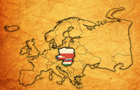 territories: political map of europe with flags of memeber countries of visegrad group