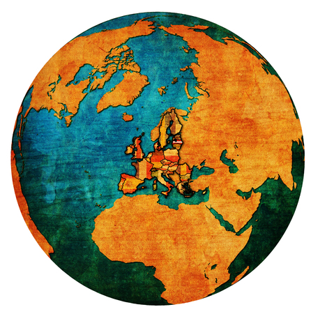 administrativo: latvia location with national flag over territory of european union member countries on globe map isolated over white