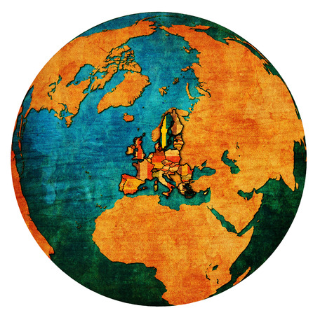 sweden location with national flag over territory of european union member countries on globe map isolated over white