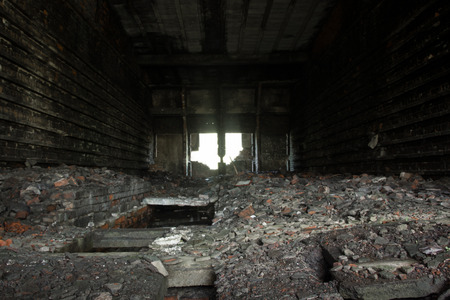 interior of an old completly destroyed brickyard