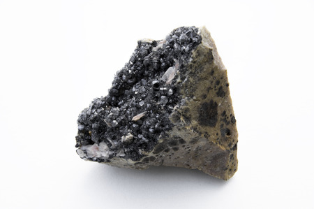 Extreme close up of Cerussite mineral isolated over white background in focus stacking technique