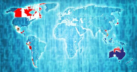 以前は環太平洋パートナーシップ加盟国として知られていた環太平洋パートナーシップのための包括的かつ進歩的な協定は、国境を持つ世界地図上 写真素材