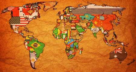 World Trade Organization member countries flags on world map with national borders Imagens
