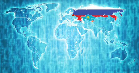Eurasian Economic Union member countries flags on world map with national borders Stock Photo