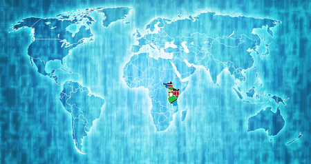 East African Community member countries flags on world map with national borders Stock Photo