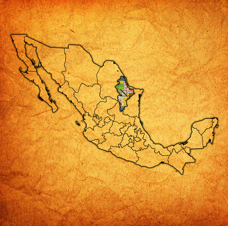 emblem of Nuevo Leon state on map with administrative divisions and borders of Mexico