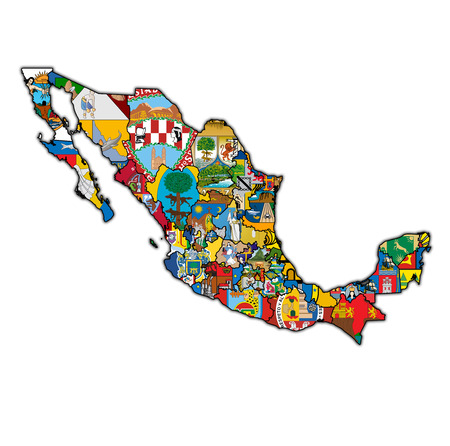 states of Mexico on map with administrative divisions and borders over white background