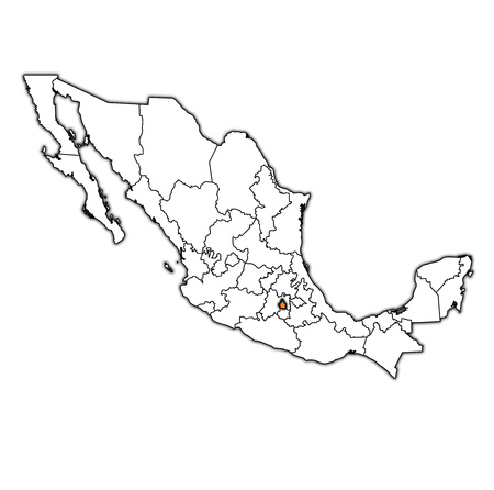 Emblem Of Tlaxcala State On Map With Administrative Divisions