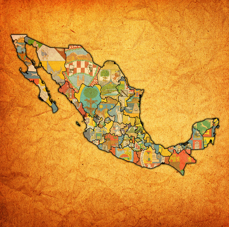 emblems of states of Mexico on map with administrative divisions and borders