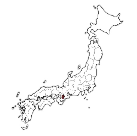 flag of nara prefecture on map with administrative divisions and borders of japan 스톡 콘텐츠