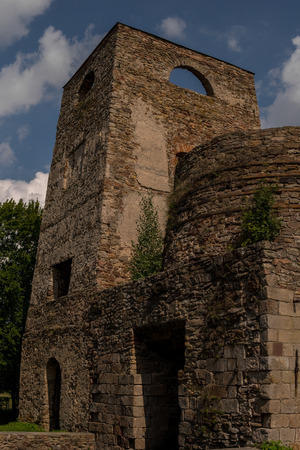 ruins of old steel foundry in samsonow town in poland