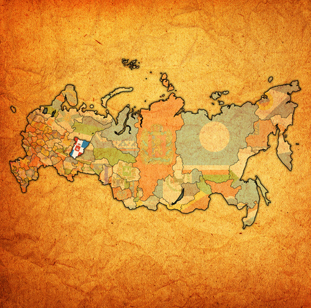 emblem of perm krai on map with administrative divisions and borders of russia