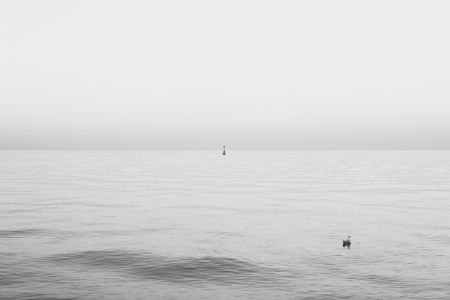 melancholic seascape single buoy on a calm sea during sunset Foto de archivo