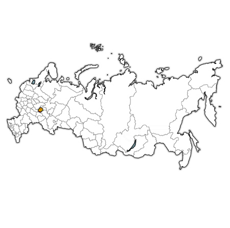 emblem of Chuvashia on map with administrative divisions and borders of russia Standard-Bild