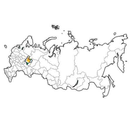 emblem of Kirov oblast on map with administrative divisions and borders of russia Standard-Bild