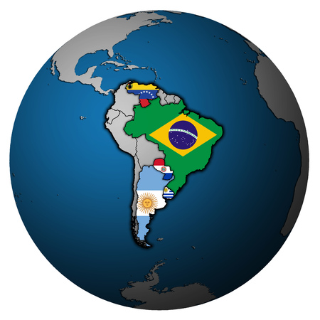 flags of member countries of Mercosur officially called Southern Common Market on political map of globe Banco de Imagens - 119650821