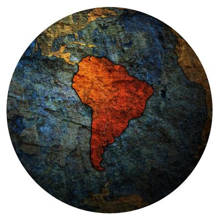 south america territory on map of globe Banco de Imagens